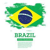 Brazil Flag with Brush Strokes.