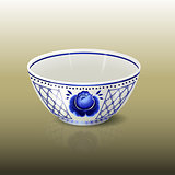 bowl with blue floral ornament and reflection