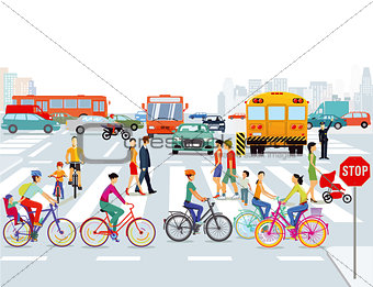 City with cars, cyclists and pedestrians