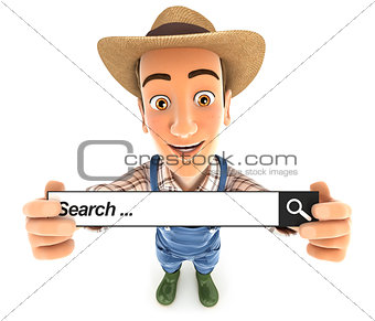 3d farmer holding a search bar