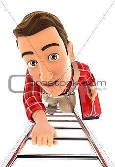 3d handyman climbing up the ladder