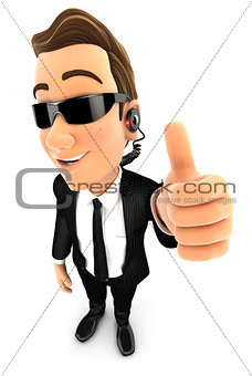 3d security agent positive pose with thumb up