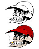 Smoking skull in cap