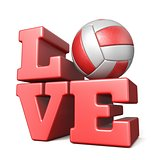 Word LOVE with volley ball 3D