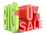 Big sale and percent 0% 3D words sign