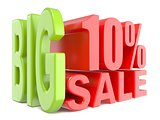 Big sale and percent 10% 3D words sign