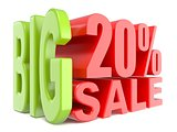 Big sale and percent 20% 3D words sign