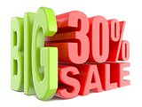 Big sale and percent 30% 3D words sign