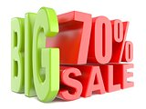 Big sale and percent 70% 3D words sign