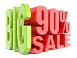 Big sale and percent 90% 3D words sign