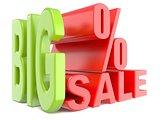 Big sale and percent sign % 3D words sign.