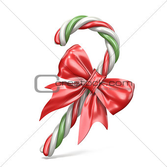 Christmas decoration made of candy cane and ribbon bow 3D