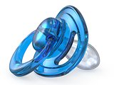 Blue baby pacifier side view 3D