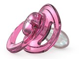 Pink baby pacifier side view 3D
