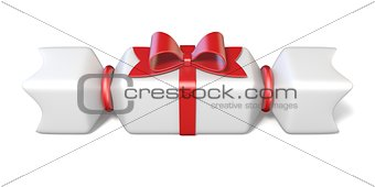 White gift box and red ribbon bow 3D