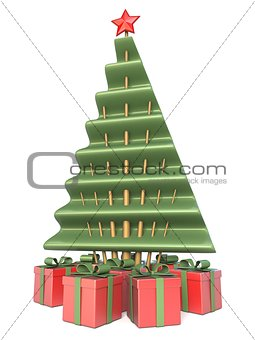 Abstract Christmas tree and gifts under 3D