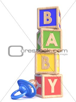 Word BABY made of wooden blocks toy and baby pacifier 3D