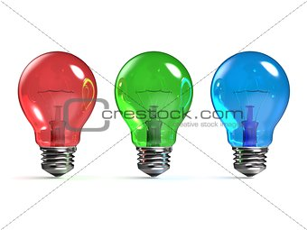 RGB red, green and blue light bulbs 3D