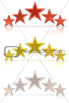 Collection of 3D rendering of five red, gold and white stars