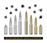 Bullets and bullet holes. Vector illustration
