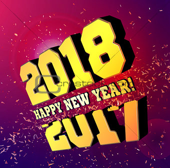 Congratulations on the New Year 2018, which goes after 2017. Vector New Year's numbers with particles flying away from the explosion.