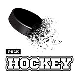 Exploding hockey puck with flying particles on a white background. Vector