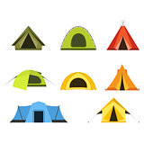 Set of camping tents icon - campsite and tourism, putting up a t