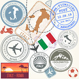 Travel stamps set - Italy and Rome journey symbols