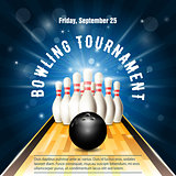 Bowling tournament flyer template with bowling court, skittles a