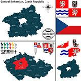 Map of Central Bohemian, Czech Republic