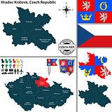 Map of Hradec Kralove, Czech Republic