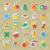 Set of Christmas and New Year icons vector clipart applique