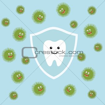 Tooth character in protective shield. Germs characters attack.