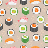 Sushi set seamless pattern. Rolls endless background. Japanese cuisine repetitive texture. Backdrop, wallpaper. Vector illustration.