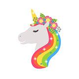 Unicorn vector icon isolated on white. Head portrait horse sticker, patch badge. Cute magic cartoon fantasy cute animal. Rainbow hair. Design for children