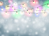 Colorful lamp Christmas background with snowflakes illustration