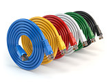 Set of colorful of LAN network connection ethernet cables. Inter