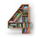 Number 4 four. Alphabet in the form of shelves with books isolat