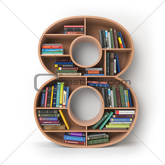 Number 8 eight. Alphabet in the form of shelves with books isola