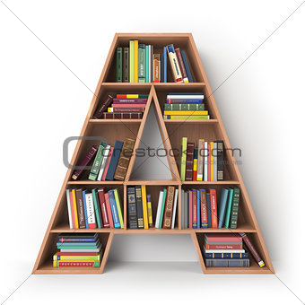 Letter A. Alphabet in the form of shelves with books isolated on