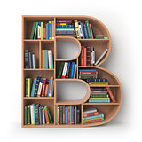 Letter B. Alphabet in the form of shelves with books isolated on