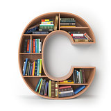 Letter C. Alphabet in the form of shelves with books isolated on