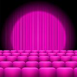 Pink  Curtains with Spotlight and Seats