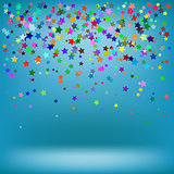 Set of Colorful Stars on Azure Background