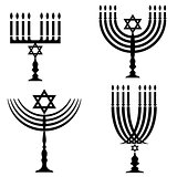 Set of Menorah Silhouettes