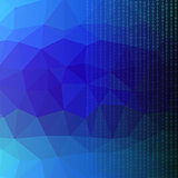 Binary Code Blue Polygonal Background