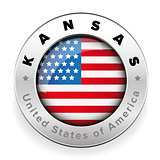Kansas Usa flag badge button