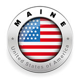 Maine Usa flag badge button