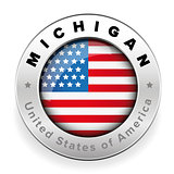 Michigan Usa flag badge button