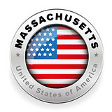 Massachusetts Usa flag badge button
